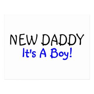 New Daddy Its A Boy Blue Postcard