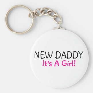 New Daddy Its A Girl Basic Round Button Keychain