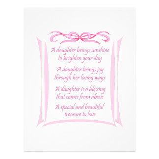 NEW DAUGHTER POEM PERSONALIZED LETTERHEAD