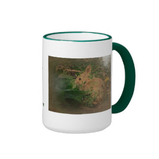 New Day Gardens Mug- Bunny antiqued style Ringer Coffee Mug