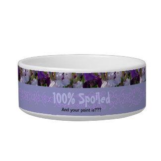 "New Day Gardens Pet Dish- Iris ""100% Spoiled"" Bowl"