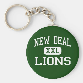 New Deal - Lions - High School - New Deal Texas Basic Round Button Keychain