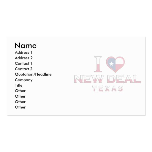 New Deal, Texas Business Card