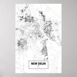 New Delhi, India (black on white) Poster