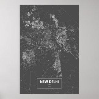 New Delhi, India (white on black) Poster