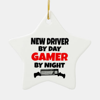 New Driver by Day Gamer by Night Double-Sided Star Ceramic Christmas Ornament