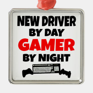 New Driver by Day Gamer by Night Square Metal Christmas Ornament