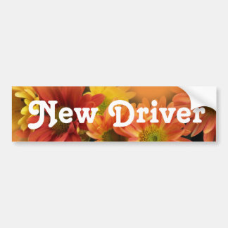 New driver. Colorful daisy flowers Car Bumper Sticker