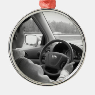 New Driver (Teenager) Round Metal Christmas Ornament
