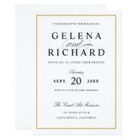 New Elegant Solid Gold Border Wedding Invitation