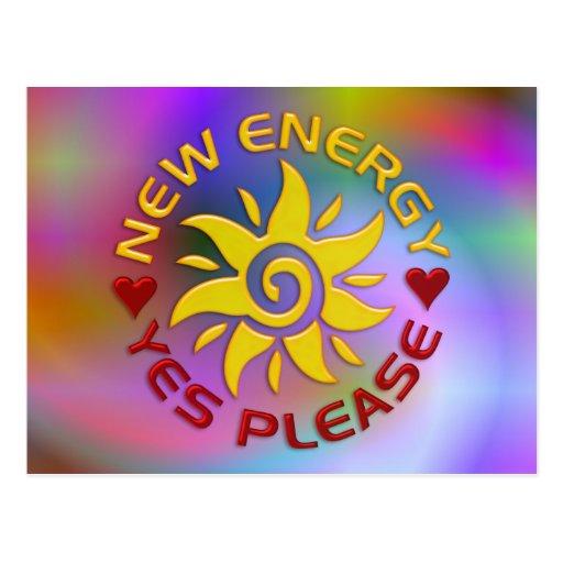 NEW ENERGY SUN   light coloured Post Cards