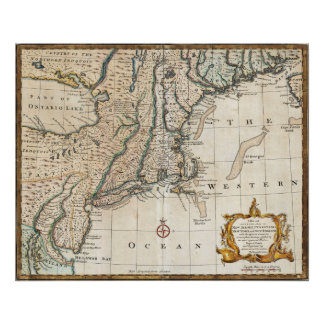 New England Ancient Map (1747) Poster