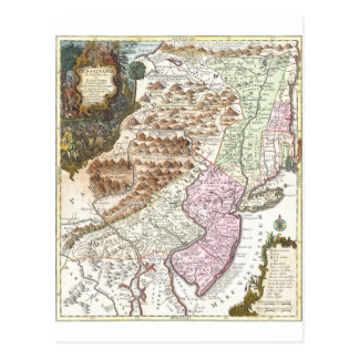 New England Ancient Map (1756).3989x4625.png Postcard