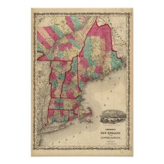 New England and Lower Canada Poster