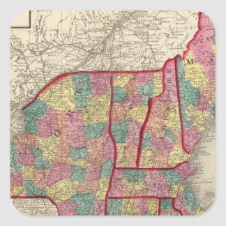New England and New York 2 Square Sticker