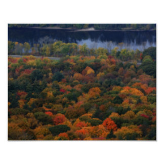 New England Autumn Foliage By River Poster