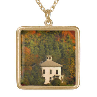 New England Autumn House with Cupola Necklace