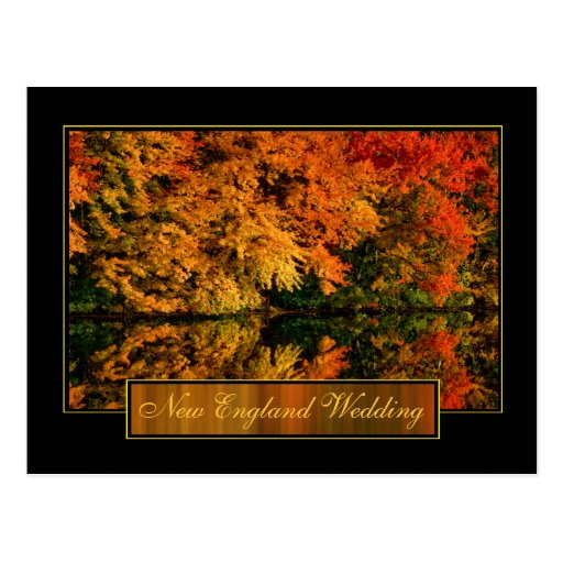 New England Autumn Wedding Invitation Postcard