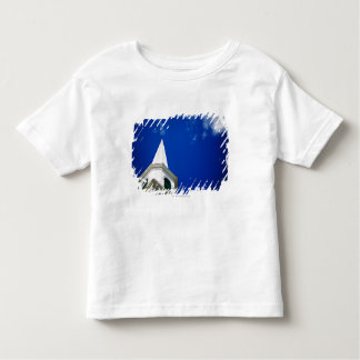 New England Church Steeple with a Royal Blue Sky Shirt