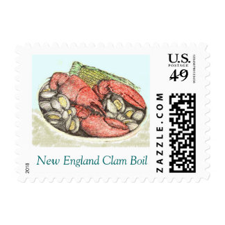 NEW ENGLAND CLAM BOIL  with LOBSTER POSTAGE STAMP