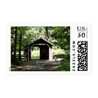 New England covered bridge postage stamp
