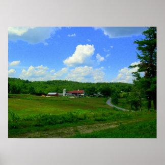 New England Farm Digital Art Poster