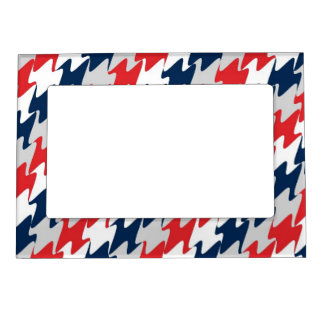 New England Football Team Colors Red White & Blue Frame Magnet