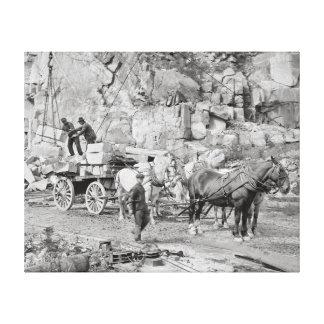 New England Granite Quarry, 1908 Canvas Print