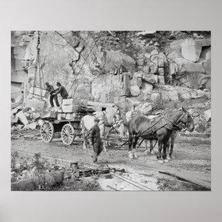 New England Granite Quarry, 1908. Vintage Photo Poster