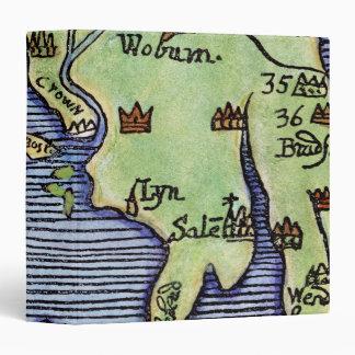 NEW ENGLAND MAP 1677 3 RING BINDER