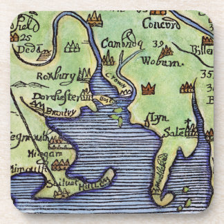 NEW ENGLAND MAP 1677 BEVERAGE COASTER