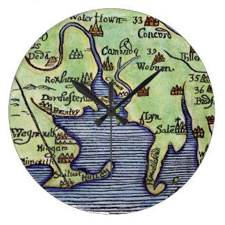 NEW ENGLAND MAP 1677 LARGE CLOCK