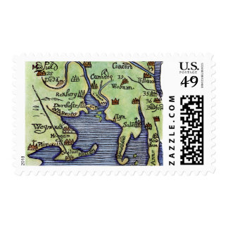 NEW ENGLAND MAP 1677 POSTAGE