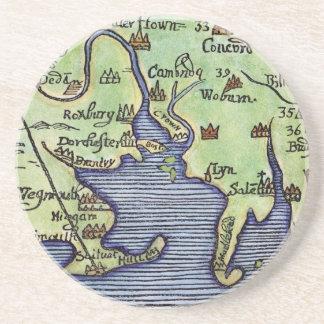 NEW ENGLAND MAP 1677 SANDSTONE COASTER