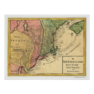 New England Map 1759 Poster