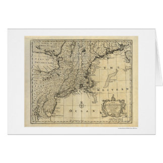New England New Jersey New York Map 1747 Greeting Cards