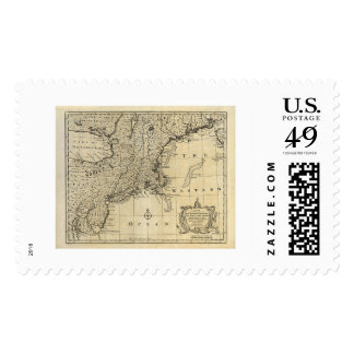 New England New Jersey New York Map 1747 Stamps
