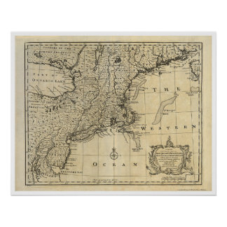 New England New Jersey New York Map 1747 Poster