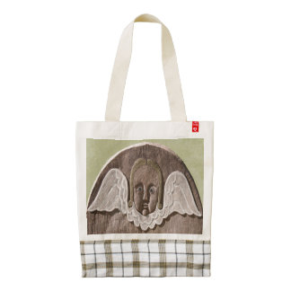 New England Pearled Wing Angel Tote in Green