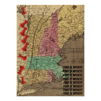 New England Points of Interest Map Marker (1836) Poster