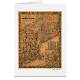 New England Railroad Map 1861 Card