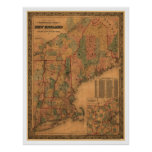 New England Railroad Map 1861 Poster
