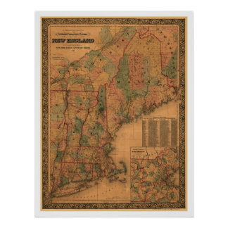 New England Railroad Map 1861 Print