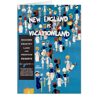 New England Restored Vintage Travel Poster Card