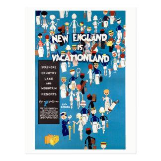 New England Restored Vintage Travel Poster Postcard