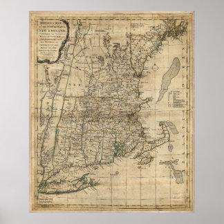 New England Revolutionary War Era Map (1776) Poster