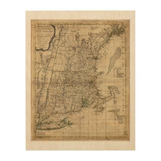 New England Revolutionary War Era Map (1776) Wood Wall Art