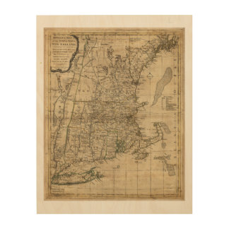 New England Revolutionary War Era Map (1776) Wood Wall Decor
