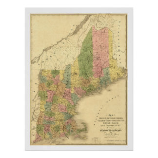 New England States Map 1839 Print