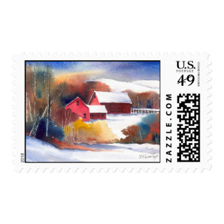 New England Valley Barn Postage Stamp